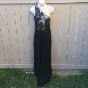 Halston Heritage Black Dress Sheer W/ floral top